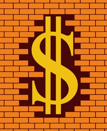 brick wall with hole and symbol dollar  Vector