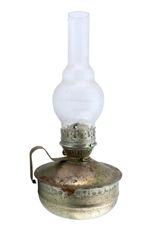 old kerosene lamp isolated on white background photo