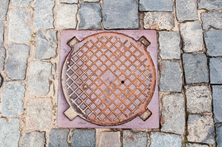 manhole in the street