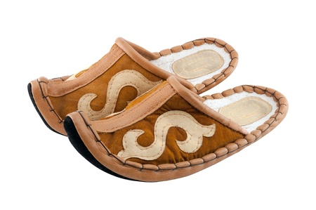 Traditional Arabic  aladdin  slippers on white background  Felt shoes with curled toes