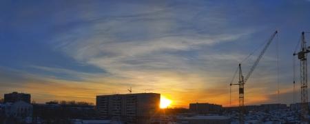 City winter sunset  Night, panorama Stock Photo
