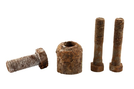 old rusty bolt isolated on white background