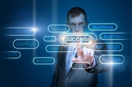 businessman hand pointing to goal, investment, succes, finance, money as concept