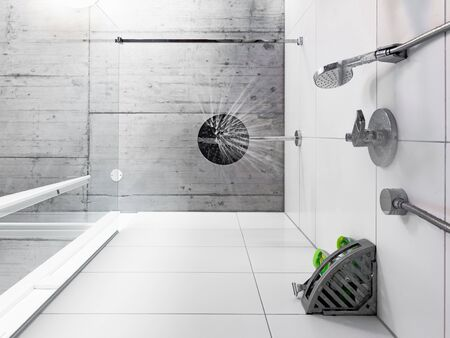 Looking straight up to the shower head from below in a bathroom of a modern home with a concrete industrial ceiling. Water drops start falling down. Stok Fotoğraf