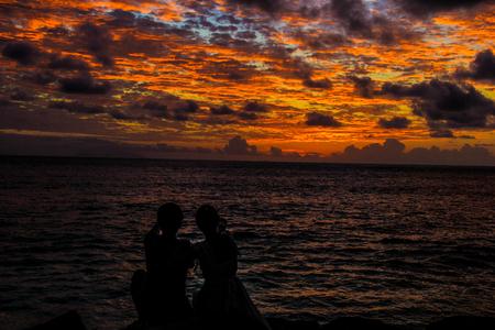 Seychelles Praslin Castello Beach Sunset Couple silhouette