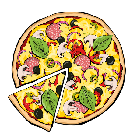 Pizza pepperoni with slice, fastfood, sreetfood vector Иллюстрация