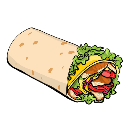 Shaurma vector illustration, chicken roll, fastfood sreetfood vector  イラスト・ベクター素材
