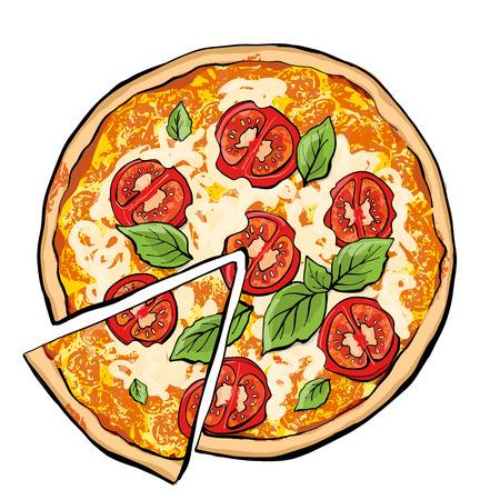 Pizza margarita with slice Illustration