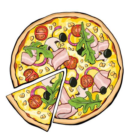 Pizza con tocino, rebanada