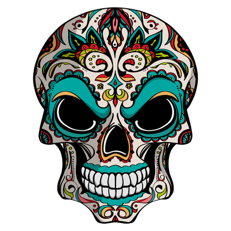 Day of The Dead, skull with floral ornament, vector