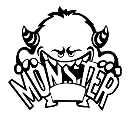 Cute monster icon such logo,  vector, black