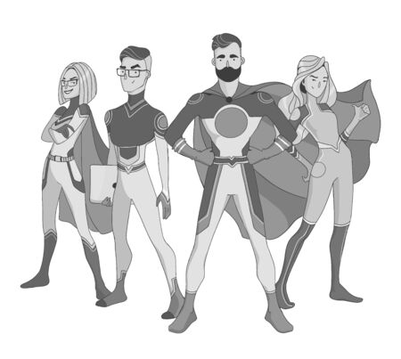 Superhero Couple Male and female superheroes, posing