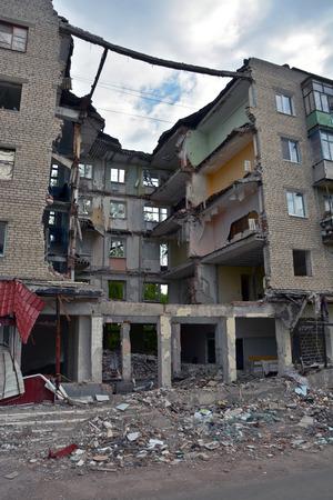 separatism: Ruined house in Slovyansk Editorial