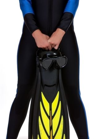 Girl in the wet suit holding mask and fins isolated on the white background photo