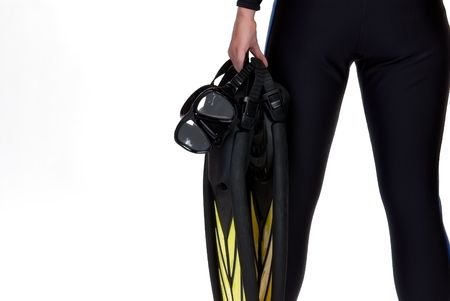 Girl in the wet suit holding mask and fins isolated on the white background