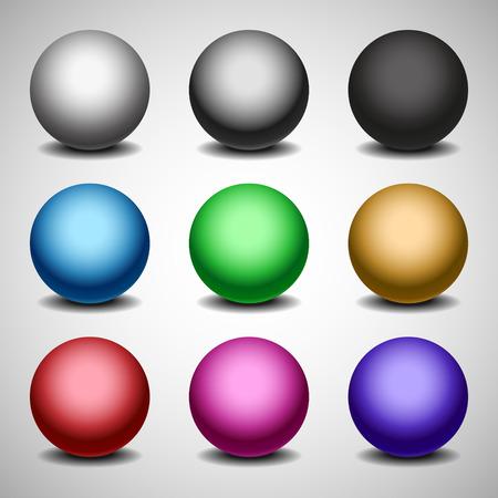 matt: Set of matt colored balls on white background Illustration
