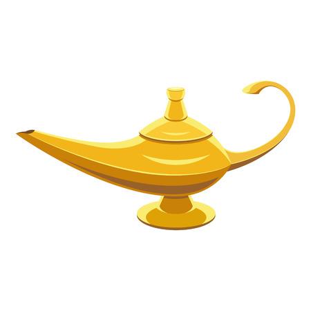 lampara magica: genio de la lámpara de oro sobre fondo blanco isoleted Vectores