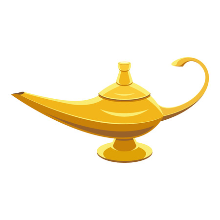 aladdin magic lamp: Gold lamp genie on white isoleted background