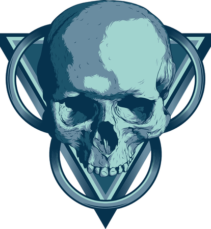 isoleted: Skull with triangles and circles on white isoleted background Illustration