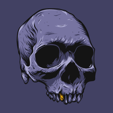 violet: Illustration of the skull violet color on violet background