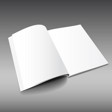 空白の雑誌モックアップ テンプレート。開かれた雑誌。現実的なベクトル EPS10 の図。