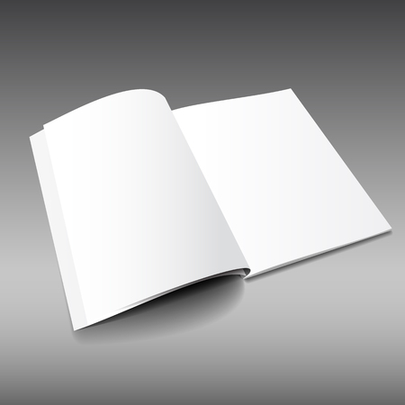 Blank magazine mockup template. Opened magazine. Realistic vector EPS10 illustration.