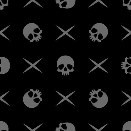 crossbones: vector seamless pattern with skulls and crossbones Illustration