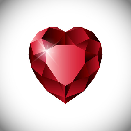 ruby: Shiny isolated red ruby heart shape on white background.