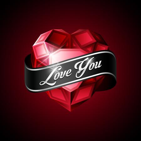ruban noir: Brillant coeur rouge rubis avec un ruban noir sur fond sombre.