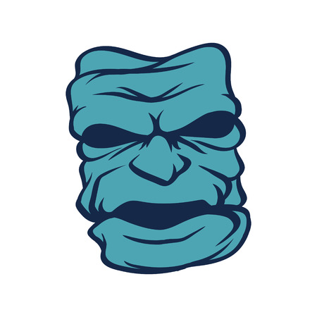 isoleted: Blue evil moster on white isoleted background