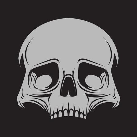 calavera caricatura: Ilustración del cráneo en el fondo oscuro