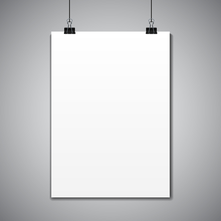 Empty vector paper frame mockup hanging with paper clip