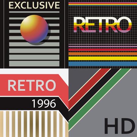 Set of tape design covers. Retro style.