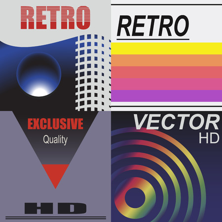 Set of tape design covers. Retro style.