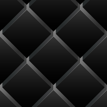 Seamless pattern black background. Dark surface with 3-D effect cubes in perspective. Old retro wallpaper with repetition geometric shape.