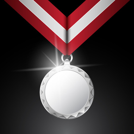 silver medal: Silver medal Premium quality on the dark background. Vector.