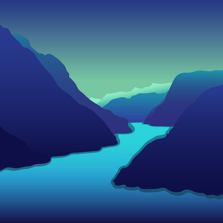 river rock: Beautiful mountain landscape with the river. Vector EPS10.