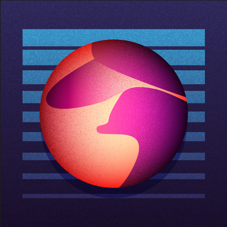 scifi: Illustration of dune and sci-fi sphere. VHS style cove. Vector EPS10.