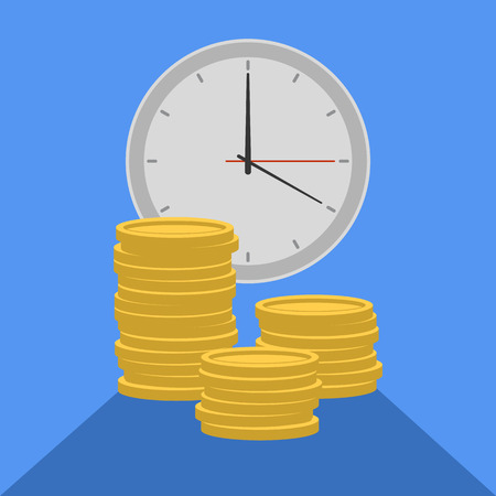loot: Flat illustration time is money isoleted on blue background. Vector EPS10.