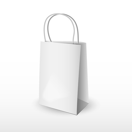 white paper bag: White paper bag mockup with handles for branding on white background