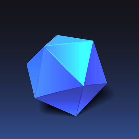 icosahedron: Blue icosahedron for graphic design. Vector EPS10