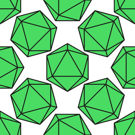 icosahedron: Icosahedron pattern, platonic solids, monochrome geometrical pattern Illustration
