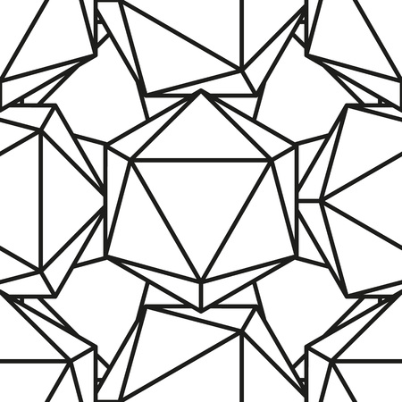 solids: Icosahedron pattern, platonic solids, monochrome geometrical pattern Illustration