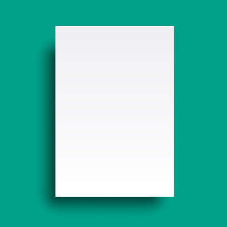 office paper: Vector A4 mockup isolated on cyan background Illustration