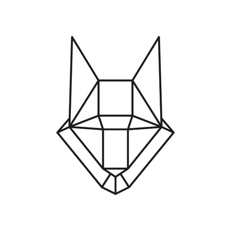 animal head: Geometric animal wolf head drawn in line or triangle style, suitable for modern tattoo templates, icons elements Illustration