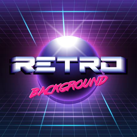 80s Retro Sci-Fi Background Illusztráció