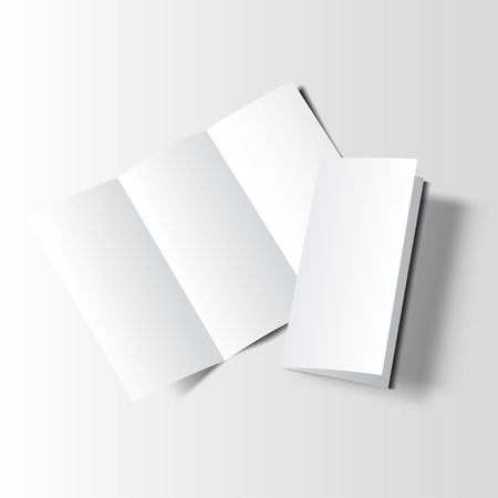 Blank tri fold cover on white background. 3D illustration with soft shadows.