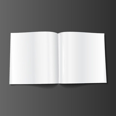 blank magazine: Blank Opened Magazine, Book, Booklet, Brochure. Illustration Isolated On White Background. Mock Up Template Ready For Your Design.