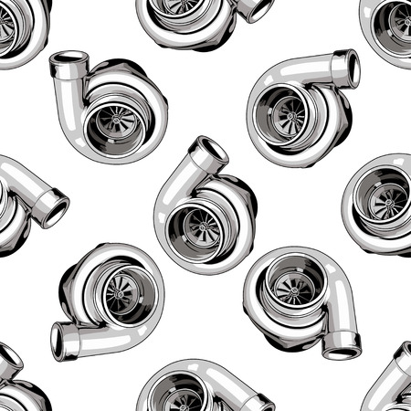 tuning: Seamless pattern with turbine on white background. For tuning car, drift, racing.