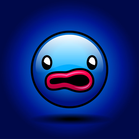 mouth pain: Blue scared, emoticon smile on dark background.
